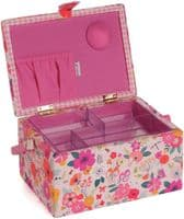 Hobby Gift Embroidered Floral Garden Pink Sewing Box 19 x 26 x 14.5cm,MRME\569